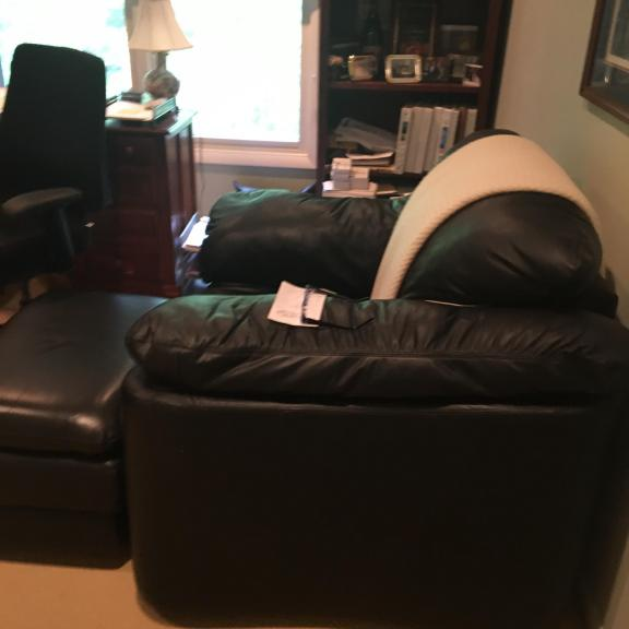 Brilliant Overstuffed Black Leather Chair And Matching Ottoman Caraccident5 Cool Chair Designs And Ideas Caraccident5Info